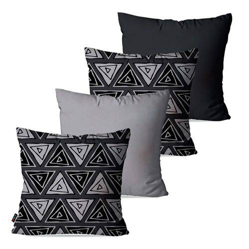 Kit com 4 Capas para Almofadas Decorativas Cinza Retângulos Abstratos
