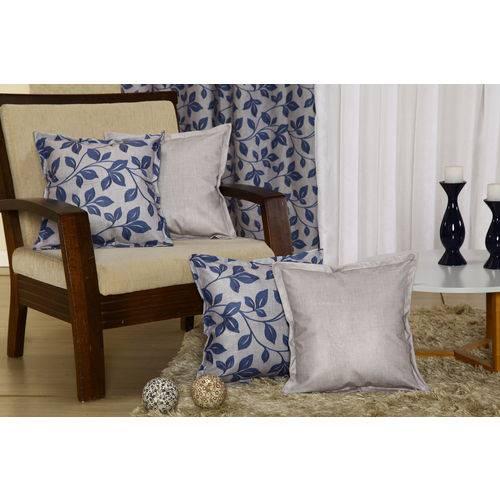 Kit com 4 Capas para Almofadas Decorativas de Sofá Azul