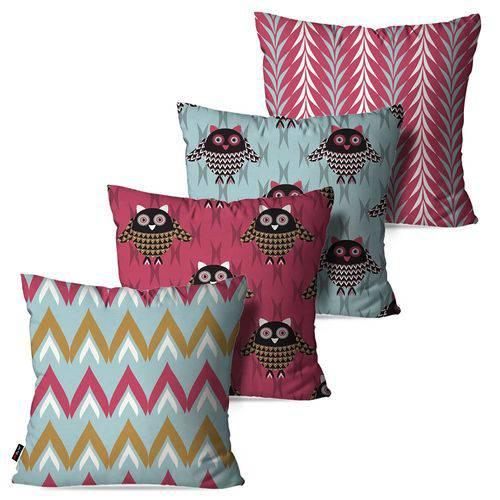 Kit com 4 Capas para Almofadas Decorativas Rosa Corujas
