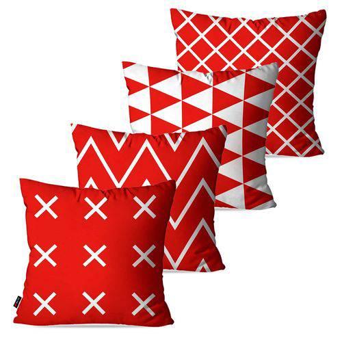 Kit com 4 Capas para Almofadas Decorativas Vermelho Geométrico