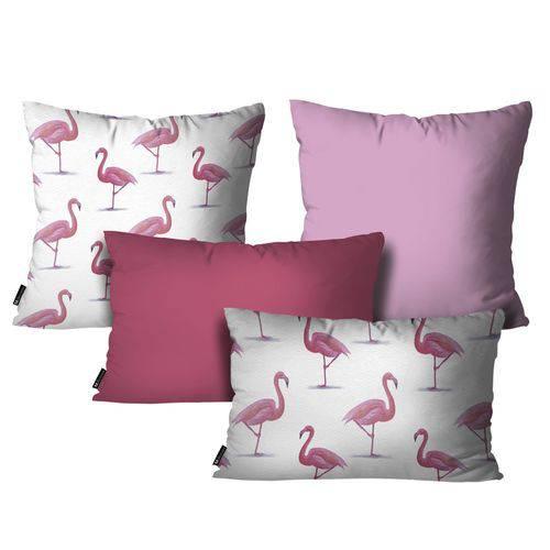 Kit com 4 Capas para Almofadas Flamingo Rosa Kit 4