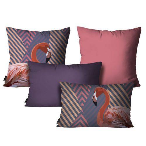 Kit com 4 Capas para Almofadas Flamingo Roxo Kit 4