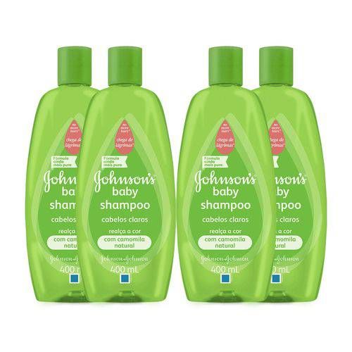 Kit com 4 Shampoos Johnson's Baby Cabelos Claros 400ml