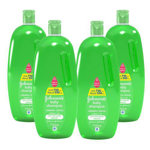 Kit com 4 Shampoos Johnson's Baby Cabelos Claros 750ml
