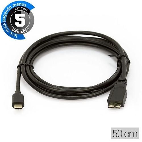 Kit com 5 Cabos Adaptador USB-C para MicroUSB-B 50cm