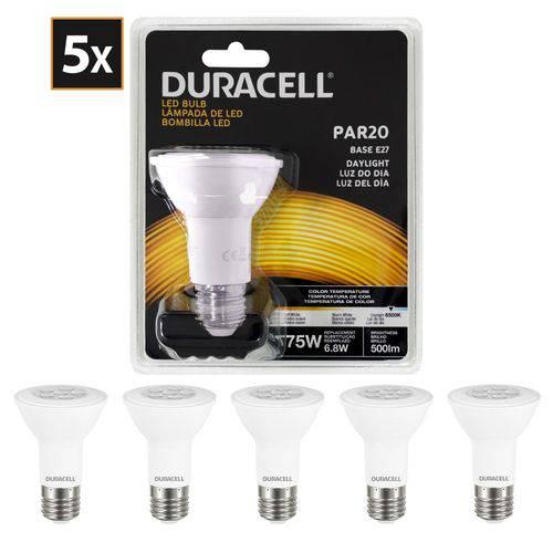 Kit com 5 Lâmpadas de Led, Duracell Par20 Branca 6,8w