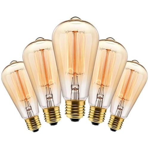 Kit com 5 Lâmpadas Filamento Carbono ST64 40w 127V 2000K 48LCARST6401 Elgin
