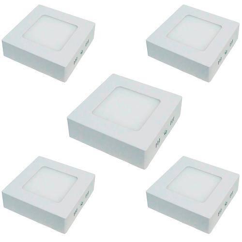 Kit com 5 Peças - Luminária Painel Plafon Led Branco Frio Quadrado Sobrepor 6w 6500k