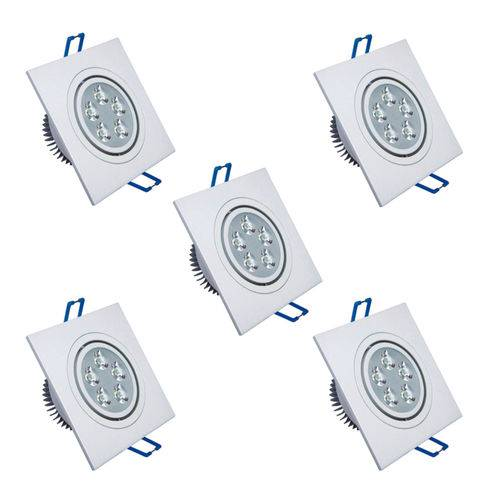 Kit com 5 Peças - Spot Quadrado Branco Frio Led Direcionável para Teto Sanca e Gesso - Branco 5w