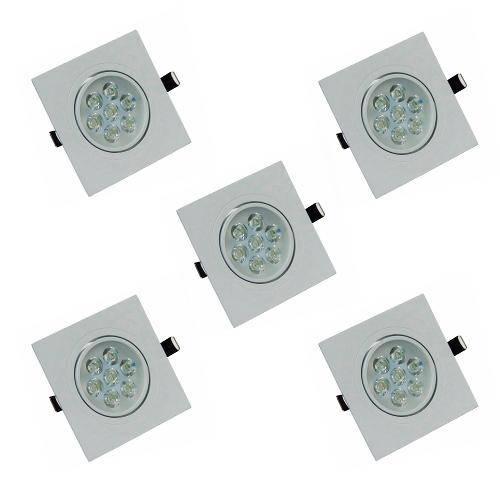 Kit com 5 Peças - Spot Quadrado Branco Frio Led Direcionável para Teto Sanca e Gesso - Branco 7w