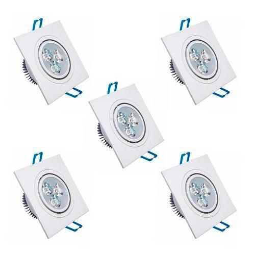 Kit com 5 Peças - Spot Quadrado Branco Frio Led Direcionável para Teto Sanca e Gesso - Branco 3w