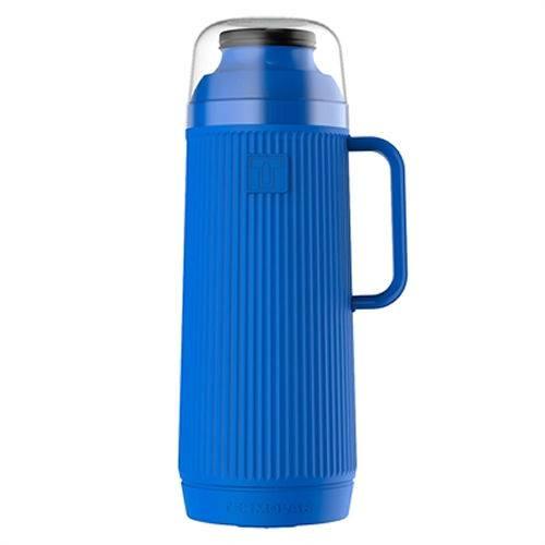 Kit com 6 Garrafa Térmica Mundial Rosca Azul 1 Litro Termolar