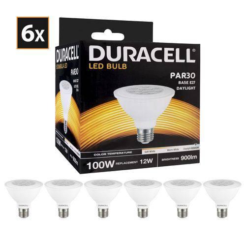 Kit com 6 Lâmpadas de Led Duracell Par30 Branca 12w