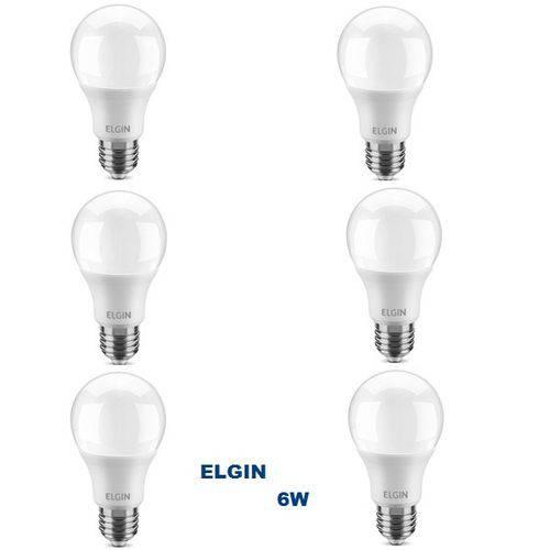 Kit com 6 Lâmpadas LED BULBO 6W ELGIN A55