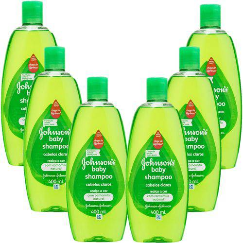 Kit com 6 Shampoo Johnson's Baby Cabelos Claros 400ml