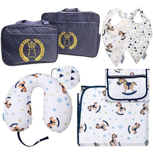 Kit com 7 Peças com Bolsa Maternidade Enxoval de Bebê Antialérgico 100% Algodão 150 Fios Premium Cavalinho