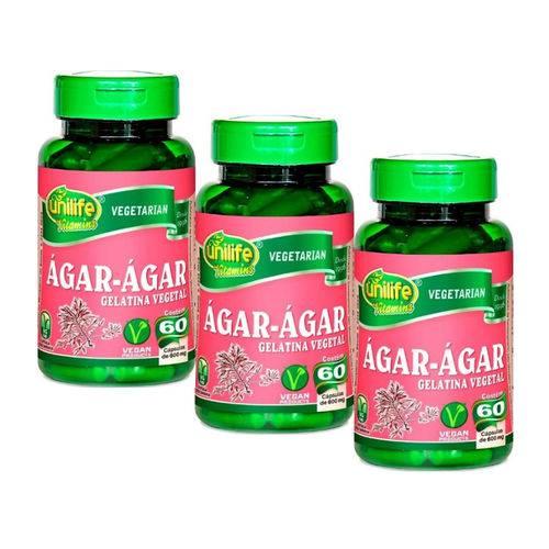 Kit com 3 Ágar - Ágar Gelatina Natural - Unilife - 60 Cápsulas