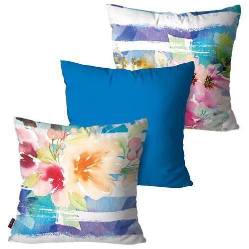 Kit com 3 Almofadas Decorativas Azul Flores Aquarela