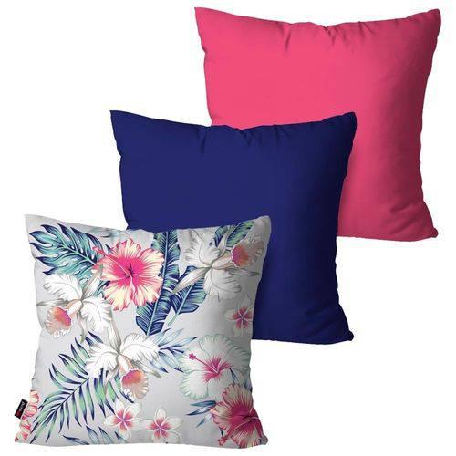 Kit com 3 Almofadas Decorativas Azul Flores