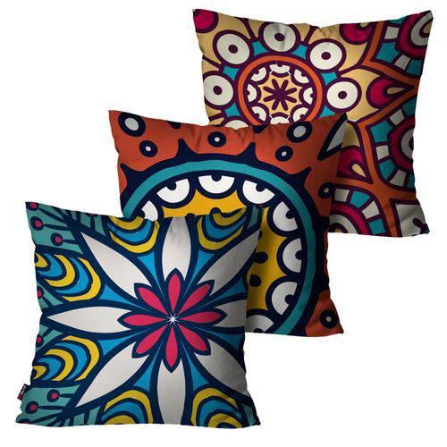 Kit com 3 Almofadas Decorativas Azul Mandala