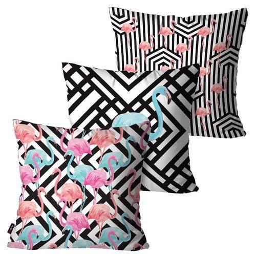 Kit com 3 Almofadas Decorativas Branco Geométricas Flamingos