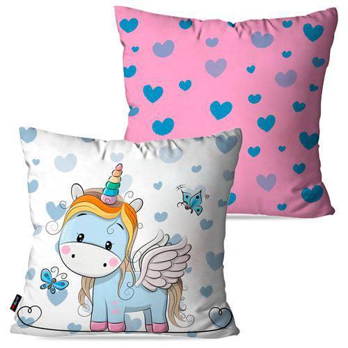 Kit com 2 Almofadas Decorativas Infantil Branco Unicórnio Love
