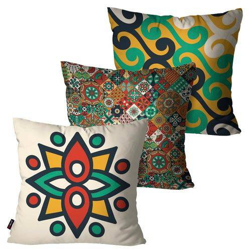Kit com 3 Almofadas Decorativas Off White Artes Abstratas