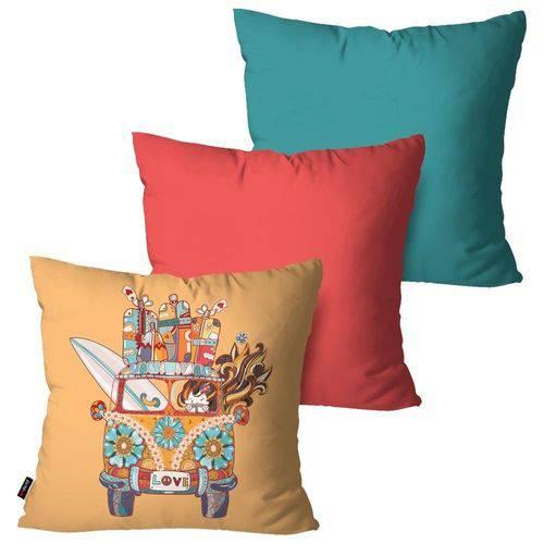 Kit com 3 Almofadas Decorativas Pink Kombi Love