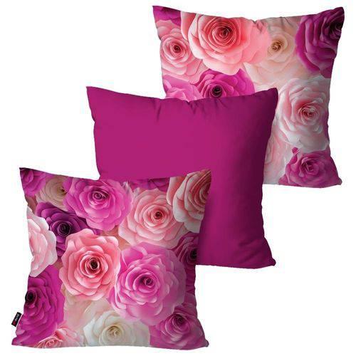 Kit com 3 Capas para Almofadas Decorativas Rosa Flowers