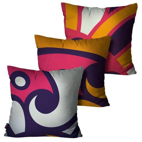 Kit com 3 Almofadas Decorativas Roxo Abstrata
