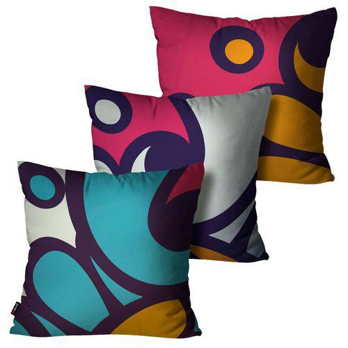 Kit com 3 Capas para Almofadas Decorativas Roxo Abstrato