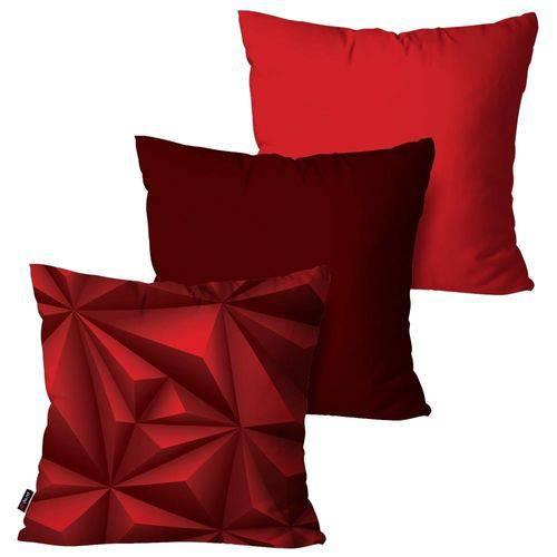 Kit com 3 Almofadas Decorativas Vermelho 3D
