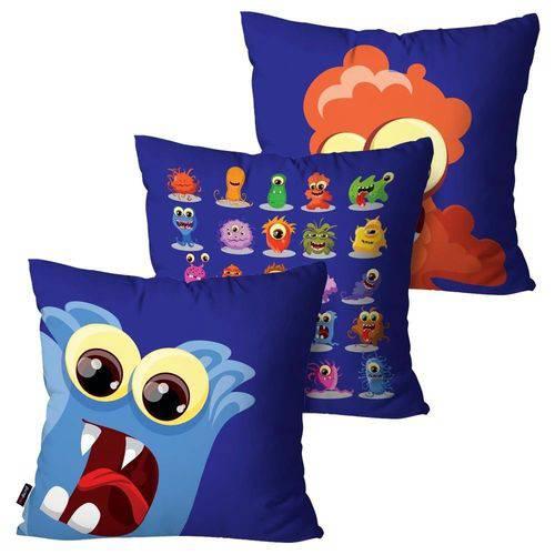 Kit com 3 Almofadas Infantil Azul Monstrinhos