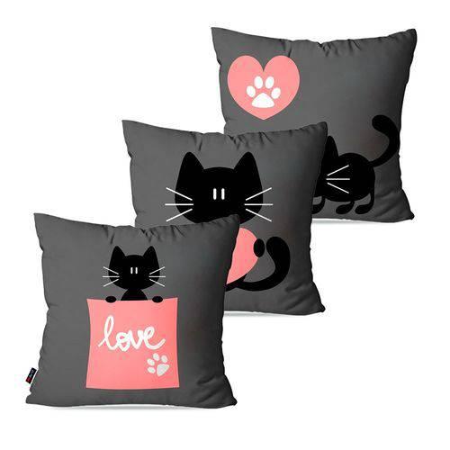 Kit com 3 Almofadas Infantil Cinza Cat Love