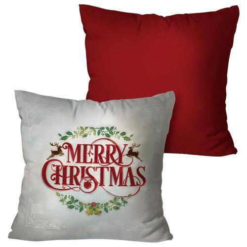 Kit com 2 Almofadas Natalinas Vermelha Merry Christmas