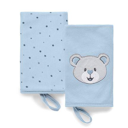 Kit com 2 Babinhas Estampadas Brilha Estrelinha - Azul - Hug