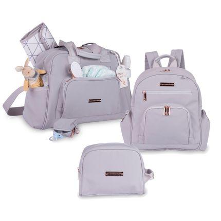 Kit com 3 Bolsas - Everyday + Noah + Necessaire - Rose Gold Cinza - Masterbag