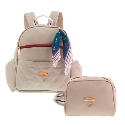 Kit com 2 Bolsas - Mochila + Necessaire - Náutica Marfim - Masterbag