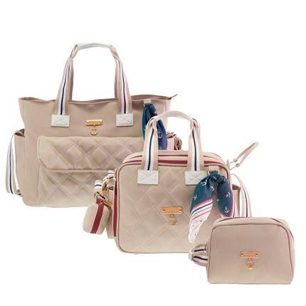 Kit com 3 Bolsas - Sú + Térmica + Necessaire - Náutica Marfim - Masterbag