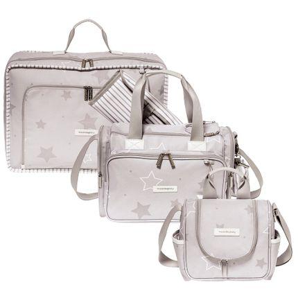 Kit com 3 Bolsas - Vintage + Anne + Emy - Estrelas Cinza - Masterbag