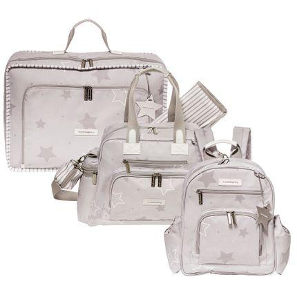 Kit com 3 Bolsas - Vintage + Everyday + Noah - Estrelas Cinza - Masterbag