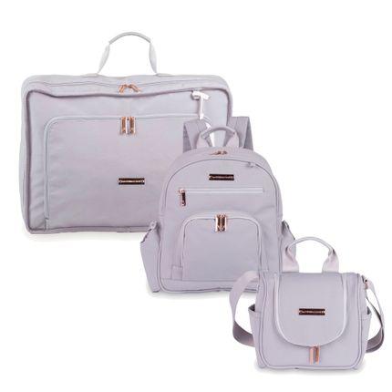 Kit com 3 Bolsas - Vintage + Noah + Emy - Rose Gold Cinza - Masterbag