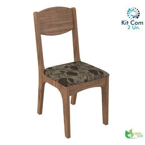 Kit com 2 Cadeira Ca12 Dalla Costa Nf1 Mdf Nobre e Chenille Floral Escuro