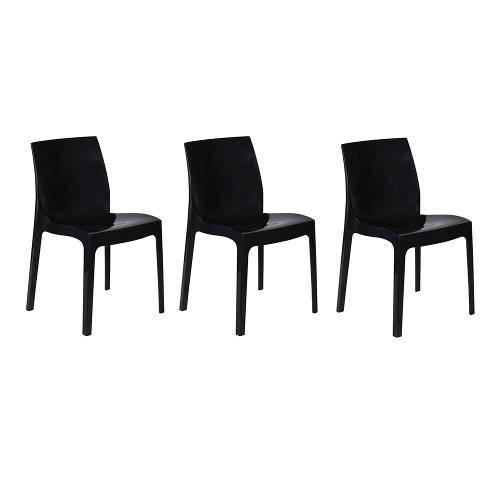 Kit com 3 Cadeiras Femme Preta