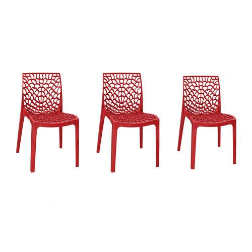 Kit com 3 Cadeiras Gruvyer Vermelha