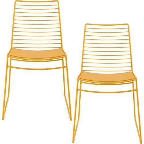Kit com 2 Cadeiras Nicole Amarelo - Carraro