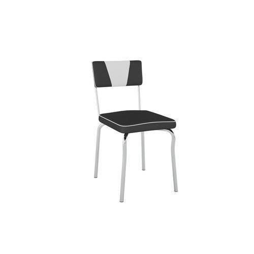Kit com 2 Cadeiras Retrô Assento/ Encosto Vinil Preto Encosto Det Branco - Pc1300232 - Móveis Pozza
