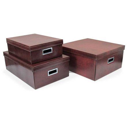 Kit com 3 Caixas Organizadoras Couro