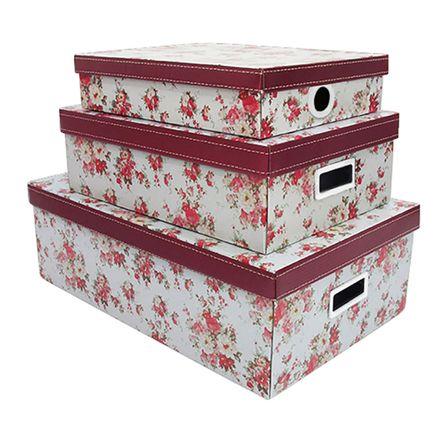 Kit com 3 Caixas Organizadoras Organizadoras Flower