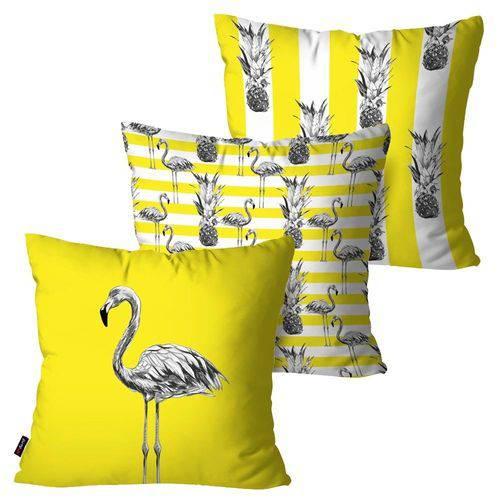 Kit com 3 Capas para Almofadas Decorativas Amarelo Flamingos